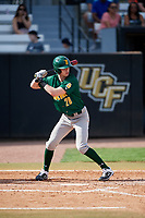 Siena Saints pinch hitter Tim Carroll (28) bats during a game against the UCF Knights on February 17, 2019 at John Euliano Park in Orlando, Florida.  UCF defeated Siena 7-1.  (Mike Janes/Four Seam Images)