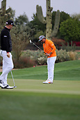 February 3rd 2019, Scottsdale, Arizona, USA;  Rickie Fowler reacts to missing his putt on the second hole during the final round of the Waste Management Phoenix Open on February 3, 2019, at TPC Scottsdale in Scottsdale, Arizona.