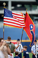 Nashville Sounds third baseman Matt Chapman (7) stands for the national anthem during a game against the New Orleans Baby Cakes on April 30, 2017 at First Tennessee Park in Nashville, Tennessee.  The game was postponed due to inclement weather in the fourth inning.  (Mike Janes/Four Seam Images)