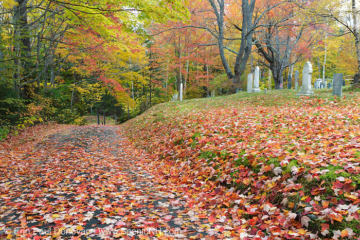 Kinsman Cemetery in Easton, New Hampshire USA during the autumn months.