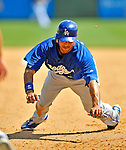 15 March 2008: Los Angeles Dodgers' outfielder Andre Ethier dives back to first base during a Spring Training game against the Washington Nationals at Space Coast Stadium, in Viera, Florida...Mandatory Photo Credit: Ed Wolfstein Photo