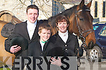 "HUNT: Tom Dillon (Listowel), Kieran and Sinead Johnson (Ballybunion) with their mount ""Alewin of Riven Dale"" at the North Kerry Harrier Hunt in Ardfert on Sunday.   Copyright Kerry's Eye 2008"