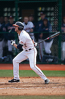 John La Prise (2) of the Virginia Cavaliers follows through on his swing against the Hartford Hawks at The Ripken Experience on February 27, 2015 in Myrtle Beach, South Carolina.  The Cavaliers defeated the Hawks 5-1.  (Brian Westerholt/Four Seam Images)