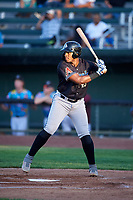 Missoula Osprey Francis Martinez (45) at bat during a Pioneer League game against the Idaho Falls Chukars at Melaleuca Field on August 20, 2019 in Idaho Falls, Idaho. Idaho Falls defeated Missoula 6-3. (Zachary Lucy/Four Seam Images)