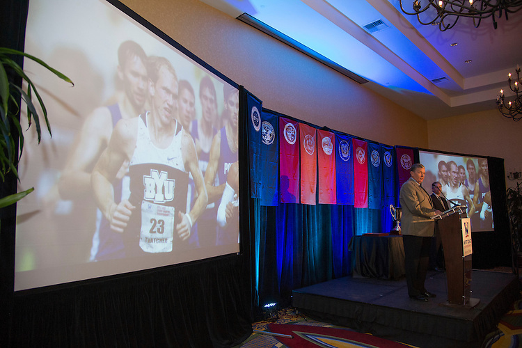 June 5, 2013; Napa, CA, USA; BYU Cougars university president Cecil O. Samuelson speaks after receiving the Commissioner's Cup during the WCC Honors Dinner at the Napa Valley Marriott.