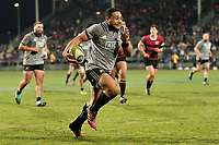 Ngani Laumape in action during the Game of Three Halves between the NZ All Blacks and Canterbury at AMI Stadium in Christchurch, New Zealand on Friday, 10 August 2018. Photo: Martin Hunter / lintottphoto.co.nzz