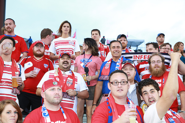 FRISCO, TX - SEPTEMBER 15: Fans cheer  as Doug Quinn is interviewed prior to the start of the the match between the FC Dallas and the Vancouver FC at FC Dallas Stadium on September 15, 2012 in Frisco, Texas. (Photo by Rick Yeatts)