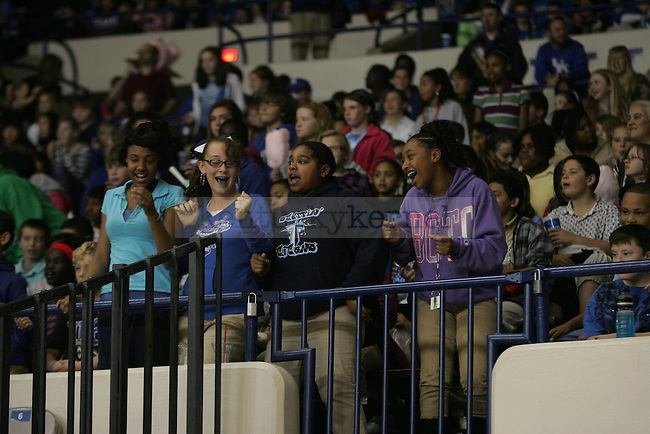 School kids cheer during the first half of UK's Women's basketball game against Jacksonville State in Lexington, Ky. on 11/15/11. Photo by Quianna Lige   Staff