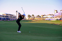 Tommy Fleetwood (ENG) on the 18th during the 2nd round of the DP World Tour Championship, Jumeirah Golf Estates, Dubai, United Arab Emirates. 22/11/2019<br /> Picture: Golffile | Fran Caffrey<br /> <br /> <br /> All photo usage must carry mandatory copyright credit (© Golffile | Fran Caffrey)
