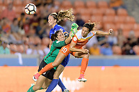 Houston, TX - Wednesday June 28, 2017: Carli Lloyd attempts to head the ball in the goal over Goalkeeper, Sammy Jo Prudhomme during a regular season National Women's Soccer League (NWSL) match between the Houston Dash and the Boston Breakers at BBVA Compass Stadium.