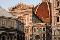 FLORENCE, TUSCANY, ITALY - JUNE 10 : A narrow view of the Cathedral Santa Maria del Fiore on June 10, 2007 in Florence, Tuscany, Italy. The cathedral was built between 1296 and 1496 but the facade remained incomplete until the 19th century. The exterior walls are made of polychrome marble from Carrara (white), Prato (green), Siena (red), Lavenza and few other places. (Photo by Manuel Cohen)