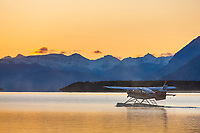 Float plane prepares to take off from Naknek lake, Katmai National park, southwest, Alaska.