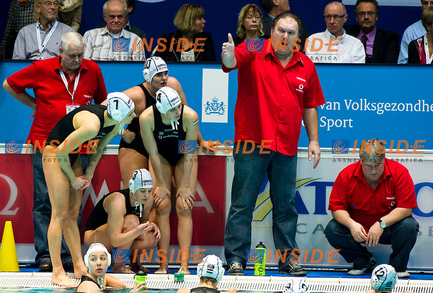 Eindhoven , Netherlands (NED) 20/1/2012.LEN European  Water Polo Championships 2012.Day 05 - Women.Hungary (White) - Netherlands (Blue)..HUN.Team..Photo Insidefoto / Giorgio Scala