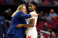 College Park, MD - March 23, 2019: Maryland Terrapins head coach Brenda Frese and Maryland Terrapins guard Kaila Charles (5) during a timeout of first round action of game between Radford and Maryland at Xfinity Center in College Park, MD. Maryland defeated Radford 73-51. (Photo by Phil Peters/Media Images International)
