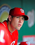 24 May 2009: Washington Nationals' pitcher Craig Stammen watches play from the dugout during a game against the Baltimore Orioles at Nationals Park in Washington, DC. The Nationals rallied to defeat the Orioles 8-5 and salvage one win of their interleague series. Mandatory Credit: Ed Wolfstein Photo