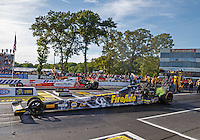 Jun 10, 2016; Englishtown, NJ, USA; NHRA top fuel driver Leah Pritchett (near) races alongside Shawn Langdon during qualifying for the Summernationals at Old Bridge Township Raceway Park. Mandatory Credit: Mark J. Rebilas-USA TODAY Sports