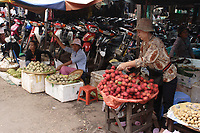 Cambodia - 2007 File Photo -<br /> <br /> fruits stall, outdoor market<br /> <br /> photo : James Wong-  Images Distribution
