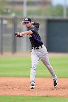 Colorado Rockies shortstop Emerson Jimenez (8) during an Instructional League game against the Arizona Diamondbacks on October 8, 2014 at Salt River Fields at Talking Stick in Scottsdale, Arizona.  (Mike Janes/Four Seam Images)