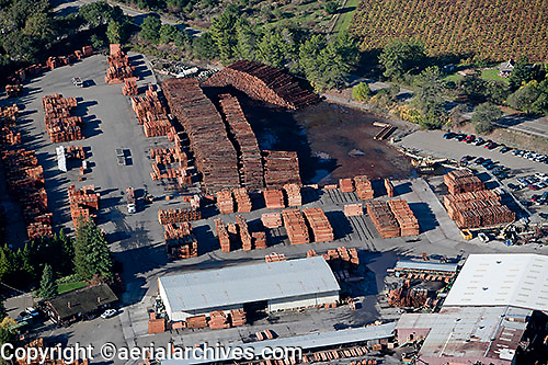aerial photograph lumber yard Sonoma County, California