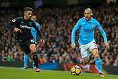 3rd December 2017, Etihad Stadium, Manchester, England; EPL Premier League football, Manchester City versus West Ham United; David Silva of Manchester City  runs down the wing as Manuel Lanzini of West Ham presses