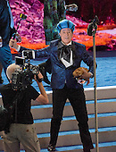 Stephen Colbert, host of The Late Show with Stephen Colbert on CBS-TV, practices a bit on the podium of the floor prior to the 2016 Democratic National Convention held at the Wells Fargo Center in Philadelphia, Pennsylvania on Sunday, July 24, 2016.<br /> Credit: Ron Sachs / CNP<br /> (RESTRICTION: NO New York or New Jersey Newspapers or newspapers within a 75 mile radius of New York City)