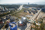 Gangneung Olympic Village, Oct 30, 2017 : Cityscape from Gangneung Olympic Village, the athletes' village of the 2018 PyeongChang Winter Olympics, is seen in Gangneung, east of Seoul, South Korea. The 23rd Winter Olympics will be held for 17 days from February 9 - 25, 2018. The opening and closing ceremonies and most snow sports will take place in PyeongChang county. Jeongseon county will host Alpine speed events and ice sports will be held in the coast city of Gangneung. (Photo by Lee Jae-Won/AFLO) (SOUTH KOREA)