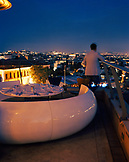 TURKEY, Istanbul, rear view of man standing on roof of 360 Restaurant