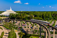 Monorail with Space Mountain in background, Magic Kingdom, Walt Disney World, Orlando, Florida USA