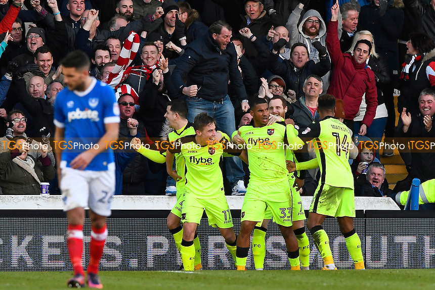 David Wheeler of Exeter City (11) celebrates after scoring the first goal of the match during Portsmouth vs Exeter City, Sky Bet EFL League 2 Football at Fratton Park on 28th January 2017