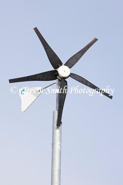 Eco friendly wind turbine in school grounds