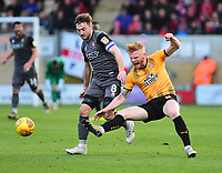 Lincoln City's Lee Frecklington vies for possession with Cambridge United's Liam O'Neil<br /> <br /> Photographer Andrew Vaughan/CameraSport<br /> <br /> The EFL Sky Bet League Two - Cambridge United v Lincoln City - Saturday 29th December 2018  - Abbey Stadium - Cambridge<br /> <br /> World Copyright © 2018 CameraSport. All rights reserved. 43 Linden Ave. Countesthorpe. Leicester. England. LE8 5PG - Tel: +44 (0) 116 277 4147 - admin@camerasport.com - www.camerasport.com