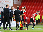 John Fleck of Sheffield Utd  comes on for Mark Duffy of Sheffield Utd during the League One match at Bramall Lane Stadium, Sheffield. Picture date: September 17th, 2016. Pic Simon Bellis/Sportimage