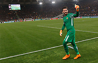 Roma s goalkeeper Alisson celebrates at the end of the Uefa Champions League quarter final second leg football match between AS Roma and FC Barcelona at Rome's Olympic stadium, April 10, 2018. Roma won 3-0 (4-4 on aggregate) to join the semifinals.<br /> UPDATE IMAGES PRESS/Riccardo De Luca
