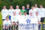 The MD O'Shea's team that played in the over 35's final in the Killarney Athletic 7-a-side over 35 tournament final in Woodlawn on Tuesday night front row l-r: Tony O'Connor, Martin Gilfoyle, Therese Buckley Killarney Credit Union, Brendan Nagle, Don O'Donoghue, Jim Hughes. Back row: Diarmuid Fitzgerald, Eamon Bowler, Dermot Goggins, John Murphy, Frank O'Reilly, Jimmy O'Leary, Mike O'Shea and Anthony O'Mahony   Copyright Kerry's Eye 2008