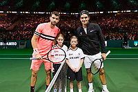 Rotterdam, The Netherlands, 18 Februari, 2018, ABNAMRO World Tennis Tournament, Ahoy, Singles final, Roger Federer (SUI), Grigor Dimitrov (BUL) (L)<br /> <br /> Photo: www.tennisimages.com