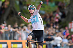 Chris Froome (GBR) Team Sky wins Stage 19 of the 2018 Giro d'Italia, running 185km from Venaria Reale to Bardonecchia featuring the Cima Coppi of this Giro, the highest climb on the Colle delle Finestre with its gravel roads, before finishing on the final climb of the Jafferau, Italy. 25th May 2018.<br /> Picture: LaPresse/Fabio Ferrari | Cyclefile<br /> <br /> <br /> All photos usage must carry mandatory copyright credit (&copy; Cyclefile | LaPresse/Fabio Ferrari)