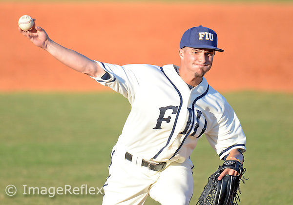 Florida International University right handed pitcher Mitchell Davis (12) plays against Arkansas State University, FIU won the game 8-7 on March 30, 2013 at Miami, Florida.