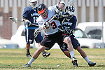 Beverly Hills, CA 04/12/10 - Adam Lasman (Beverly Hills # 3) and Joshua Belmont (Loyola # 22) in action during the Loyola-Beverly Hills Boys Varsity Lacrosse game at Beverly Hills High School, Loyola defeated Beverly Hills 16-0.