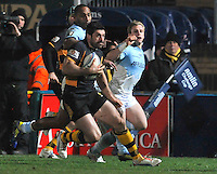 Rugby. High Wycombe, England. Andrea Masi of London Wasps runs in for a try during the Amlin Challenge Cup match between London Wasps vs Bayonne at Adams Park on December 13, 2012 in High Wycombe, England.