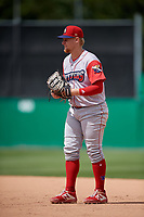 Williamsport Crosscutters first baseman Rudy Rott (26) during a NY-Penn League game against the Batavia Muckdogs on August 27, 2019 at Dwyer Stadium in Batavia, New York.  Williamsport defeated Batavia 11-4.  (Mike Janes/Four Seam Images)