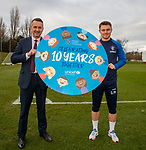 23.11.2018 Motherwell presser: Glenn Middleton promoting 10 years of Rangers and UNICEF partnership with Connal Cochrane from the Rangers charity foundation