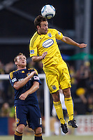 29 MAY 2010:  Adam Moffat heads the ball over Galaxy's #11 Chris Birchall during MLS soccer game between LA Galaxy vs Columbus Crew at Crew Stadium in Columbus, Ohio on May 29, 2010. Galaxy defeated the Crew 2-0.
