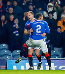 01.12.2019 Rangers v Hearts: Greg Stewart scores goal no 5 for Rangers and celebrates with James Tavernier