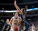 SIOUX FALLS, SD: MARCH 5: Ellie Thompson #45 from South Dakota State University eyes the basket against Maria Martianez #44 from Oral Roberts during the Summit League Basketball Championship on March 5, 2017 at the Denny Sanford Premier Center in Sioux Falls, SD. (Photo by Dave Eggen/Inertia)