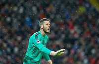 Manchester United's David De Gea<br /> <br /> Photographer AlexDodd/CameraSport<br /> <br /> The Premier League - Liverpool v Manchester United - Sunday 16th December 2018 - Anfield - Liverpool<br /> <br /> World Copyright © 2018 CameraSport. All rights reserved. 43 Linden Ave. Countesthorpe. Leicester. England. LE8 5PG - Tel: +44 (0) 116 277 4147 - admin@camerasport.com - www.camerasport.com