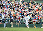 Hideki Matsui (Yankees), MAY 24, 2014 - MLB : Former New York Yankees player Hideki Matsui celebrates after hitting a home run during the Hall of Fame Classic baseball game in Cooperstown, New York, United States. (Photo by AFLO)