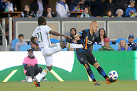 San Jose, CA - Saturday May 05, 2018: Diego Chara, Magnus Eriksson during a Major League Soccer (MLS) match between the San Jose Earthquakes and the Portland Timbers at Avaya Stadium.