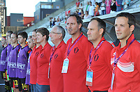 20140718 - Tonsberg , NORWAY : Belgian Staff pictured with head coach Kris Van Der Haegen ( R3) during the female soccer match between Women under 19 teams of Norway and Belgium , on the second matchday in group A of the UEFA Women Under19 European Championship at Tonsberg Stadion , Norway . Friday 18th July 2014 . PHOTO DAVID CATRY
