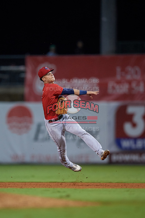 Jacksonville Jumbo Shrimp second baseman Bryson Brigman (6) throws to first base during a Southern League game against the Mississippi Braves on May 4, 2019 at Trustmark Park in Pearl, Mississippi.  Mississippi defeated Jacksonville 2-0.  (Mike Janes/Four Seam Images)