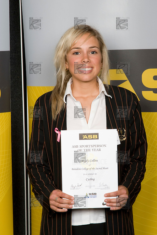 Girls Cycling winner Emily Collins from Baradene College of the Sacred Heart. ASB College Sport Young Sportperson of the Year Awards 2008 held at Eden Park, Auckland, on Thursday November 13th, 2008.
